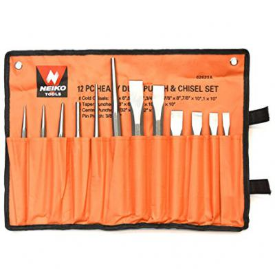 02623A 12 pc Heavy Duty Punch and Chisel Set Includes Heavy Duty Canvas Pouch