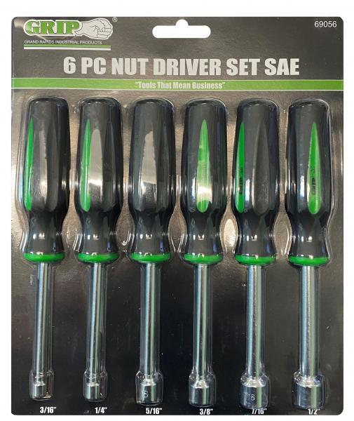 69056 GRIP 6 pc Nut Driver Set SAE Sizes: 3/16